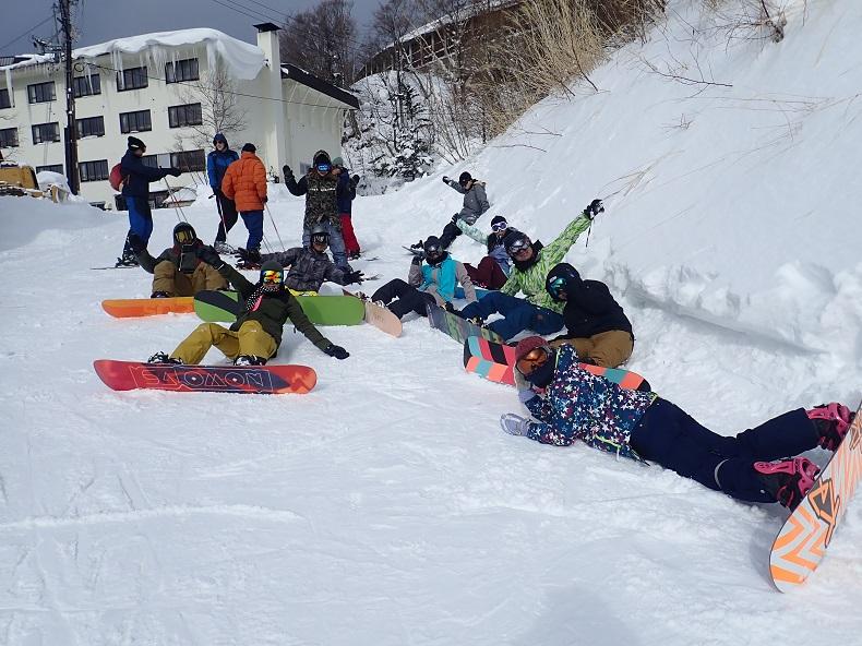 スノーボード中。社会人サークルナッツベリー