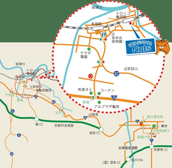 京都 保津川ラフティングベースマップ